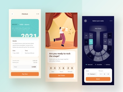 Concert booking app event party dark blue yellow money stage landing website phone ios app profile chart ios mobile checkout illustration ticket booking ticket concert