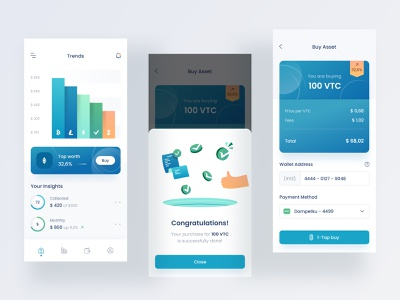 Digital asset mobile app design clean design dashboard menu icon 3d chart clean illustration popup ios mobile card blue bitcoin money wallet crypto wallet crypto currency digital