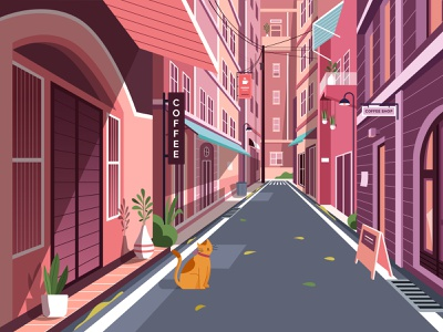 Cafe illustration 🍱 landing header website mobile ticket fall leaf animation food street food urban red road cat building town street illustration coffee cafe
