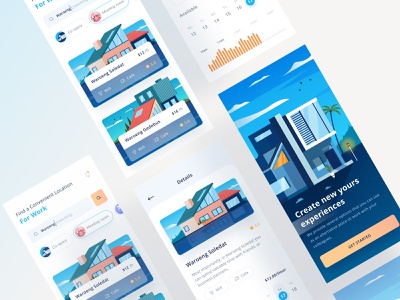 Coworking app isometric orange blue card graphic chart details business booking coffee cafe home website onboarding illustration phone finder coworking ios mobile