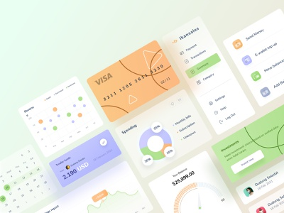 Dashboard UI Kit green orange purple landing website contact income date card admin illustration interface icons menu desktop money management money finance interface kit dashboad