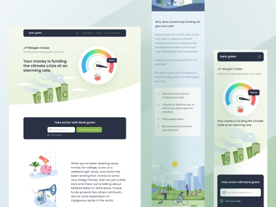 Bank.green project website ui information icon future economy saving dashboard desktop mobile responsive landing clean business earth green bank money illustraion