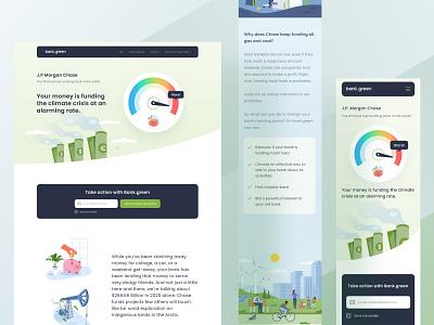 Bank.green project website ui information icon future economy saving dashboard desktop mobile responsive landing clean business earth green bank money illustraion