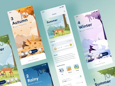 4 seasons mobile ui journey chart details page dashboard traveling holliday vacation ios green profile dailyui iran winter summer details mobile autumn rain snow illustration