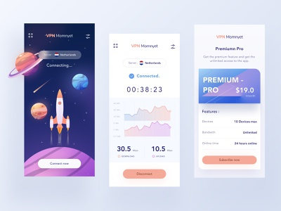 VPN mobile app design stars logo planet illustrations download phone ios mobile ui orange blue purple premium pricing speed chart rocket space internet vpn