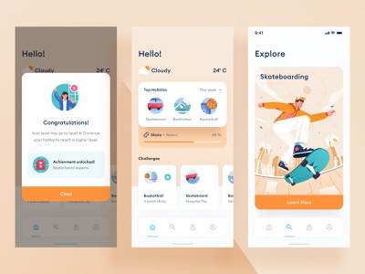 Hobbies mobile app design young dashboard profile ui success popup nav card icon orange exersice sport basketball skate illustration android ios mobile app mobile hobby