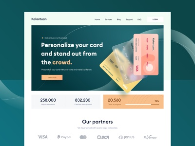 Custom credit card landing page design 🔥 money wallet onboarding dashboard clean profile illustration mobile app ui chart green logo shadow 3d website green custom landing credit card card
