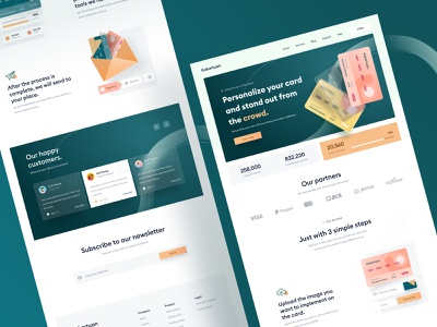 Custom credit card landing page design 🔥 header form orange desktop website landing custom creditcard 3d shadow green chat mobile illustration card profile dashboard onboarding wallet money