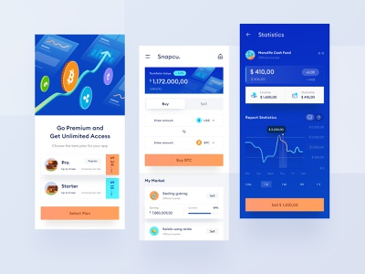 Crypto mobile app design android icon modern nft invest phone ios ui dashboard website analystic clean sell buy trading illustration chart mobile money crypto