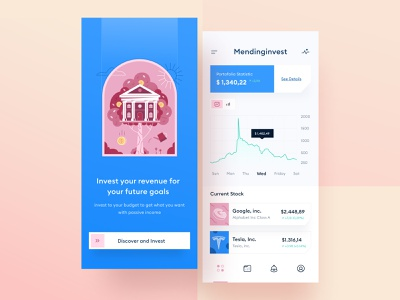 Investment App 📈 website branding clean ui card illustration orange red pink blue crypto phone android ios financial income money chart mobile invest