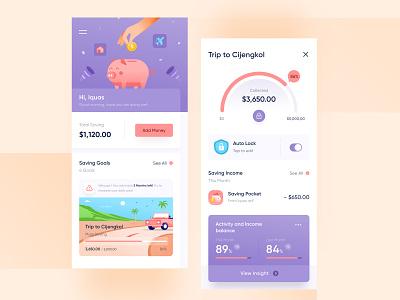 Saving Mobile App 💵 dashboard financial management modern website design chart ui vacation hand illustraiton mobile ios clean blue purple coin money app saving