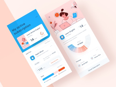 Subscription Manager Mobile App 🎖 animation website dashboard chart pastel vanilla brown blue modern clean ui android ios online learn teach payment illustration uisubscribe mobile