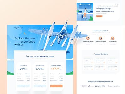 Galactic Pricing Page Exploration 🚀 ui white desktop website icon illustration details price modern clean landing pricing blue plane flight moon galactic virgin rocket space