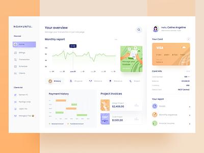 Invoicing Dashboard 📄 card purple orange green branding website icon design mobile business money chart desktop illustration ui statistic graph clean financial invoice