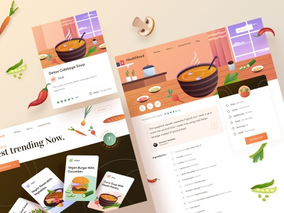 Web Recipe Design  🍔 chart burger desktop mobile icon clean dashboard illustration brown fruit vegtable website landing kitchen chef cook health recipe food