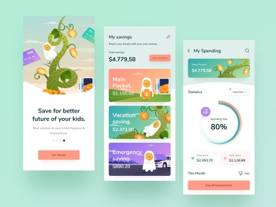 Digital Bank For Kids 👧🏼 design orange green purple white manage chart icon clean mobile app ios milenial coin saving colorful young illustration money bank kid