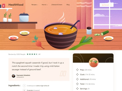 Web Recipe - Animation Design food recipe health cook chef kitchen landing page dashboard clean illustration icon ui animation video animation desktop burger chart