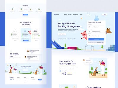 Pet Petan Landing Page Design 🐳 minimal dashboard chart ui mobile desktop icon vet cat booking platform dog illustration website clean animal blue clinic pet landing