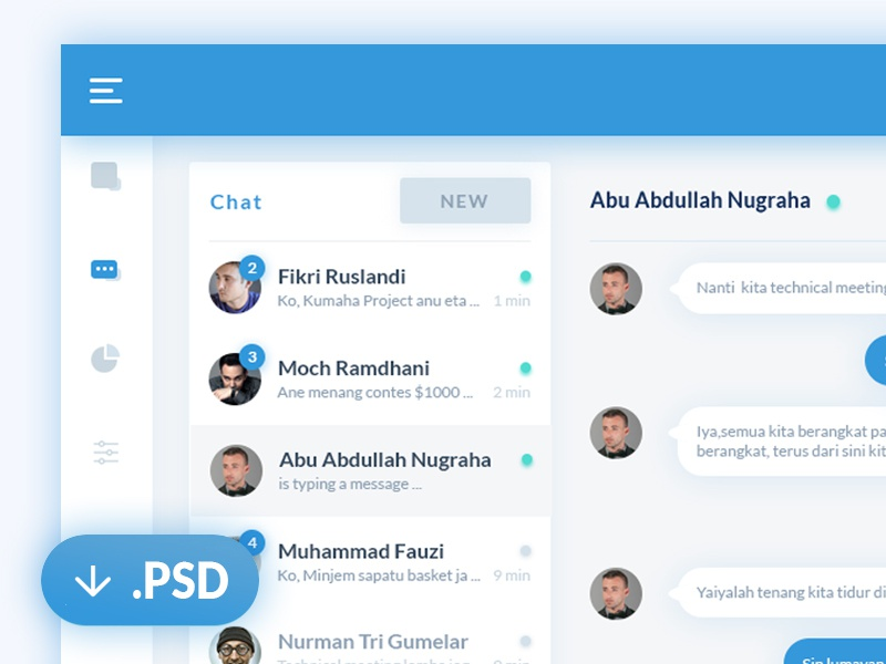 Chat dashboard PSD web ux ui psd message download dashboard clean chat calendar app agenda