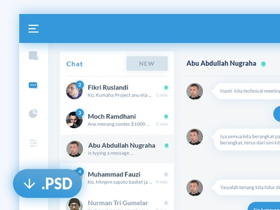 Chat dashboard PSD web ux ui psd message download dashboard clean chat calendar app agenda