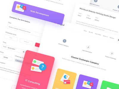 Make Challange Step mobile profile ios menu chart web design landing ui android colorfull modern desktop app business clean dashboard website illustration form