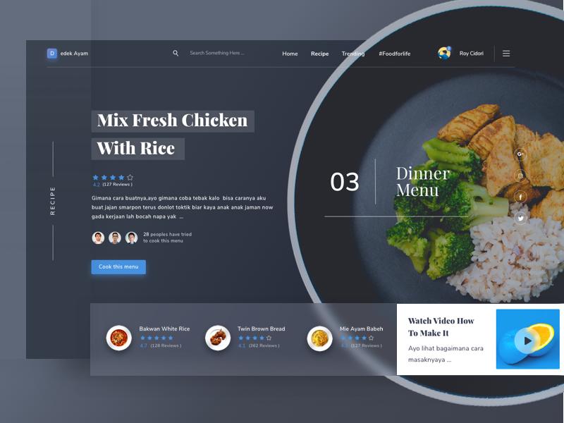 Food Recipe Website menu profile illustration clean dark android ios mobile desktop modern website food