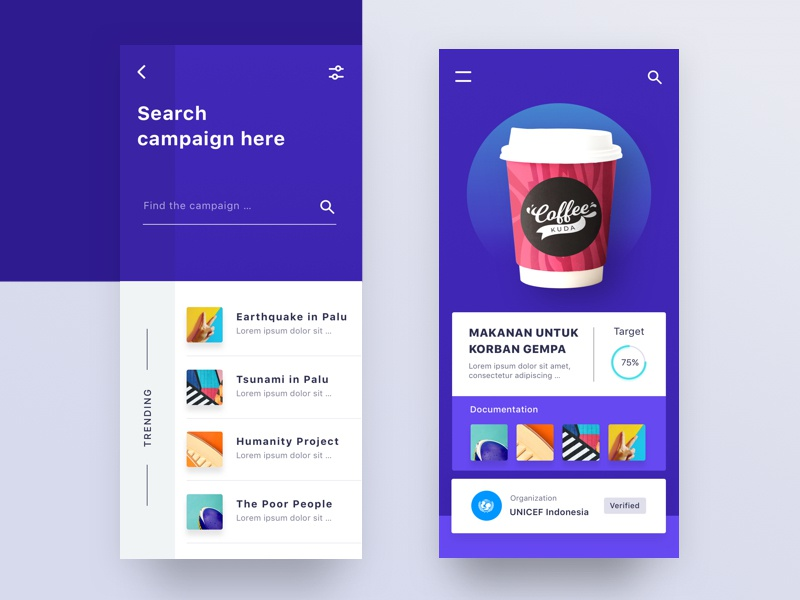 Charity Mobile App card onboarding chart typography light design search web mobile dashboard illustration profile landing desktop ui clean ios app android website