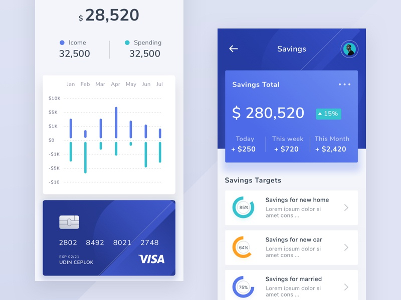Money Management App light design onboarding app ux branding illustration logo profile dashboard typography chart landing ui desktop mobile clean ios android website