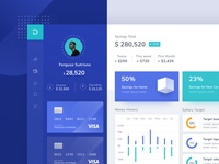 Money Management Dashboard clean branding web typography chart profile menu card light ui landing desktop design illustration mobile android app ios dashboard website