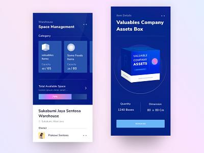 Warehouse Application Concept ux card menu design ui dark 3d box onboarding landing chart profile mobile desktop illustration app dashboard android website clean