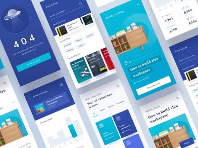 Article Mobile App Full Version web card light ux typography app onboarding illustration ui landing desktop android branding chart profile mobile ios clean website dashboard