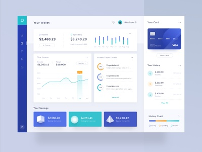 Money Management Rebound projects light blue logo modern clean profile desktop landing ui chart mobile illustration app website icon card dashboard wallet money