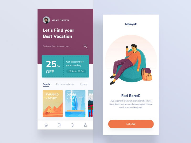 Traveling Mobile App 2 layout typogaphy profiles memu traveling card onboarding animation home design landing profile chart ui mobile illustration app dashboard website clean