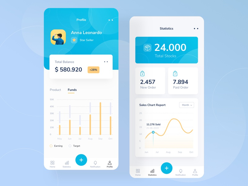 E Commerce profile  👜 white blue color money wallet shopping photo menu card desktop profile chart ui mobile android clean app illustration dashboard website