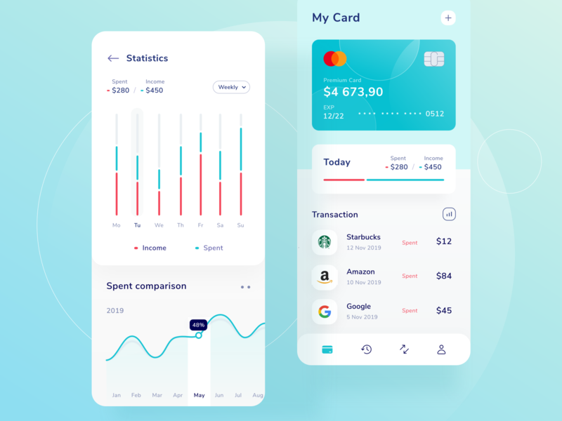 Color Exploration graphics wallet transaction ios branding logo menu card money icon green landing profile chart ui mobile illustration dashboard website clean