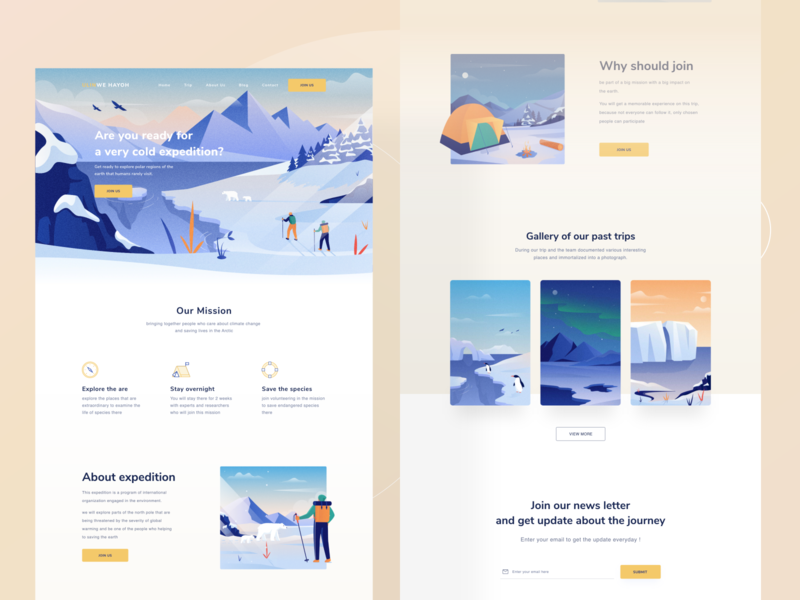 Expedition landing page 🌏 white minimal clean ui image mountain gallery pastel animal human desktop landing profile chart ui mobile app illustration dashboard website clean