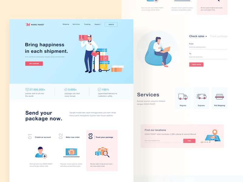 Package shipment landing 📦 modern logo minimal white button modern clean ui pastel icon package landing profile ui chart android mobile app illustration dashboard website clean