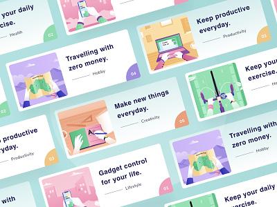 Blog Post 📝 menu nav header phone icon minimal pastel landingpage web card blog app design ui android mobile illustration dashboard website clean