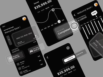 Finance App Dark Theme ui vector branding logo design graphic design dating app website ui  ux illustration