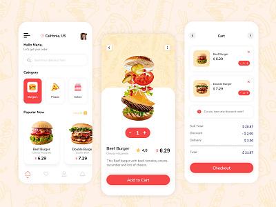 Food Delivery App 🍔 restaurant app food delivery app food online order food app vector branding ui logo design graphic design website ui  ux illustration