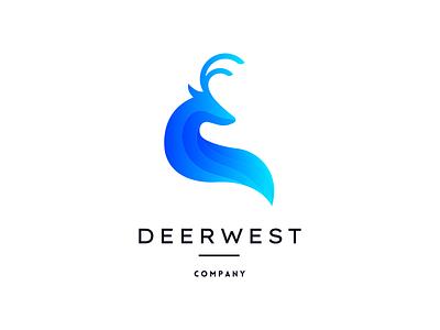 D E E R W E S T | Deer Logo 3d l a z y d o g t h e q u i c k b r o w n f o x colorful gradient deer logo minimalist animal deer illustration graphic design vector minimal logo design logo branding