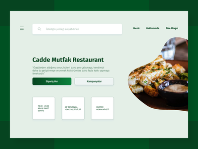Cadde Mutfak Restaurant Landing Page Re-design vector ui typography minimal icon design
