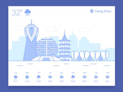 037 Weather dailyui tower buiding card hangzhou weather
