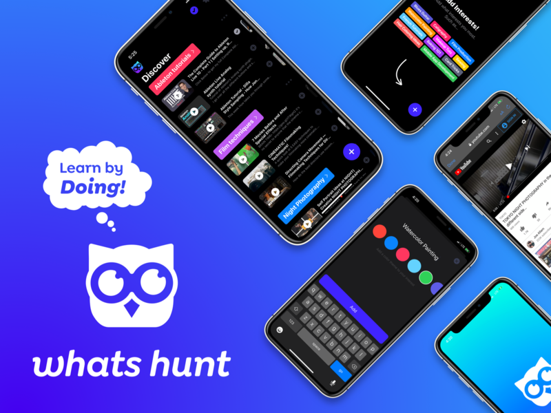 WhatsHunt App Design & Build education learning app product design ux dev mobie app