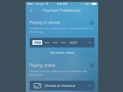 Payments Preferences payments iphone mobile app