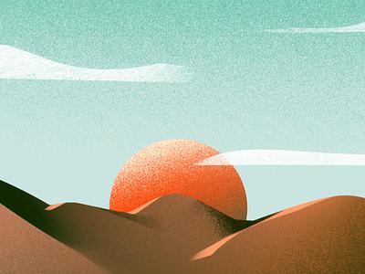 Sunrise sun desert landscape illustrator illustrations illustrators illustration
