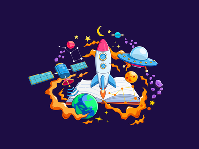 Book Of Space satelite aircraft ufo moon planets rocket space sketch blender inkscape illustration