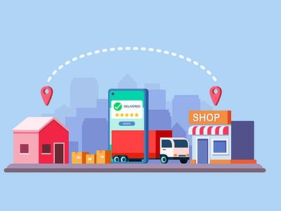 delivery online flat vector concept online shopping delivery truck shopping online delivery vehicle vector house illustration inkscape