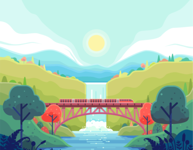trains crossing a river over the railroad bridge industry industrial illustration high speed train header gorge forest flat design fast excursion europe destination communication business beautiful adventure speed railway mountain bridge
