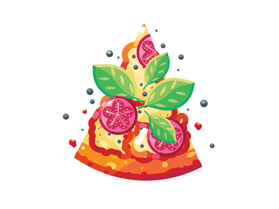 pieces of delicious pizza with tomatoes, vector illustration in vegetable meat design pepper cheesy red yellow toppings junk food mozzarella sausage top view fastfood unhealthy breakfast pizza slice vegetables tomatoes tasty pizza snack